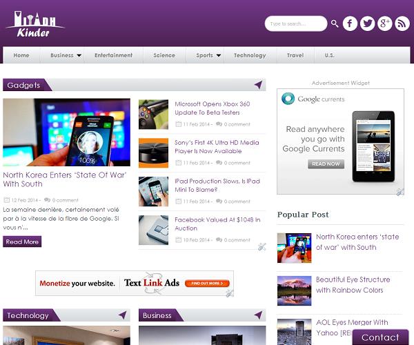Kinder Blogger Teknoloji Portalı Teması