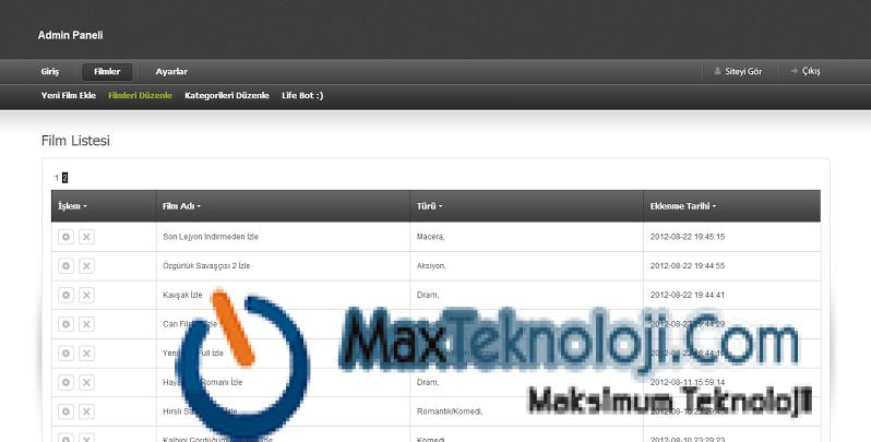 MaxTeknoloji.Com - Film Sitesi Scripti 2- Program - Script - WordPress Tema - Temalar - Oyunlar - Teknoloji