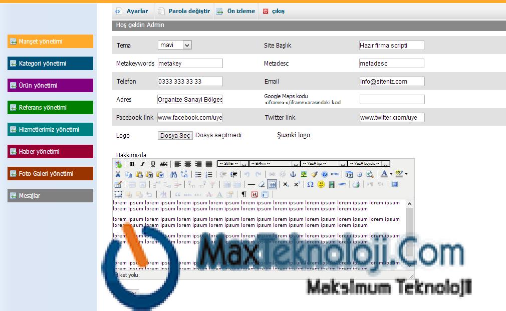 MaxTeknoloji.Com - Kurumsal Script - Firma Scripti - Kurumsal Firma Scripti 2