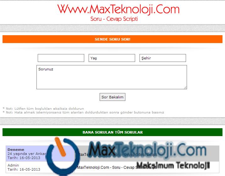 MaxTeknoloji.Com - PHP Scriptler - Ücretsiz Soru-Cevap Scripti - Script indir - Soru - Cevap Scripti