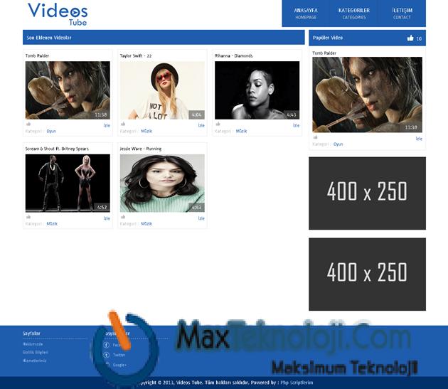 MaxTeknoloji.Com - Videos Tube Scripti - Video Sitesi Scripti - Script - Script indir - ücretsiz script - script arşivi