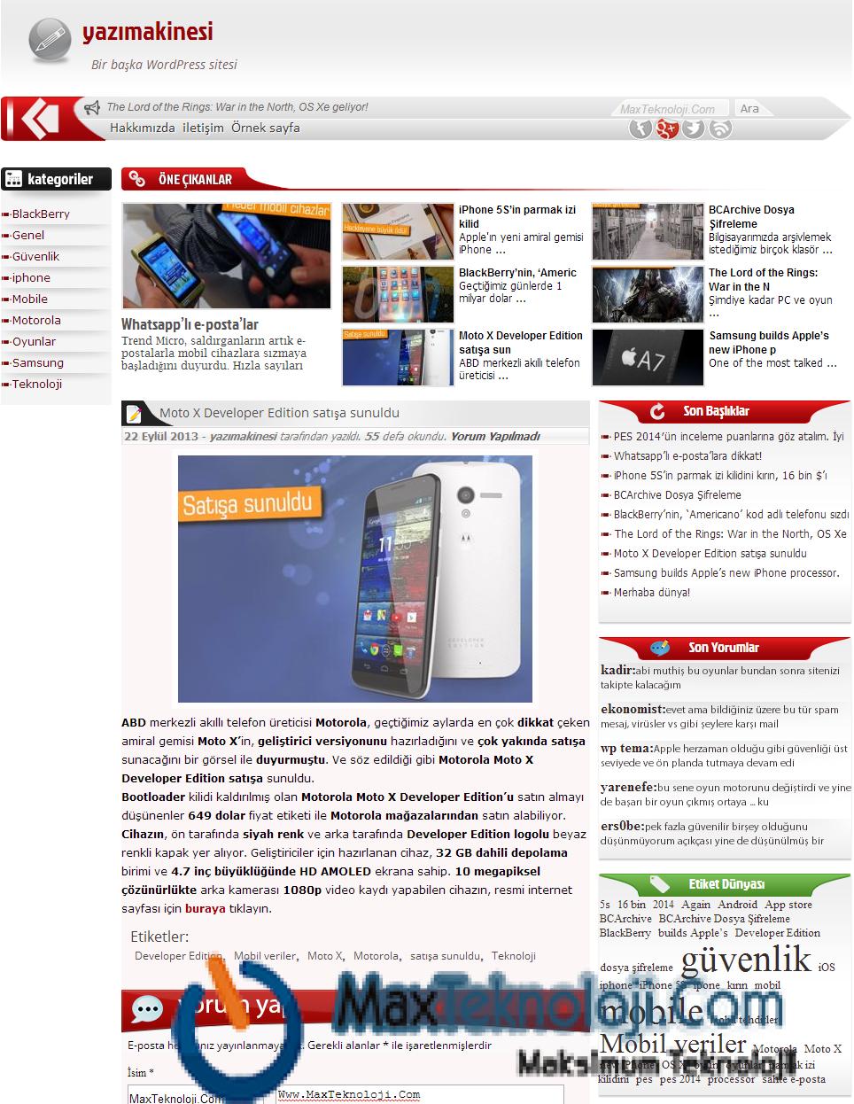 Teknoloji Teması, Blog Teması, Haber Teması7