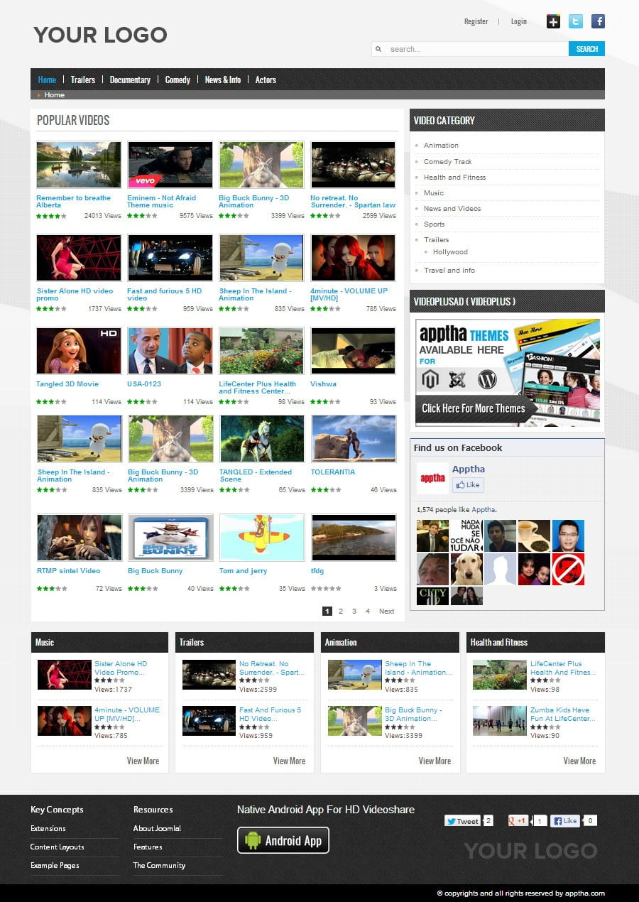 full versiyon joomla video tema