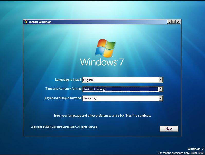 windows kurulum