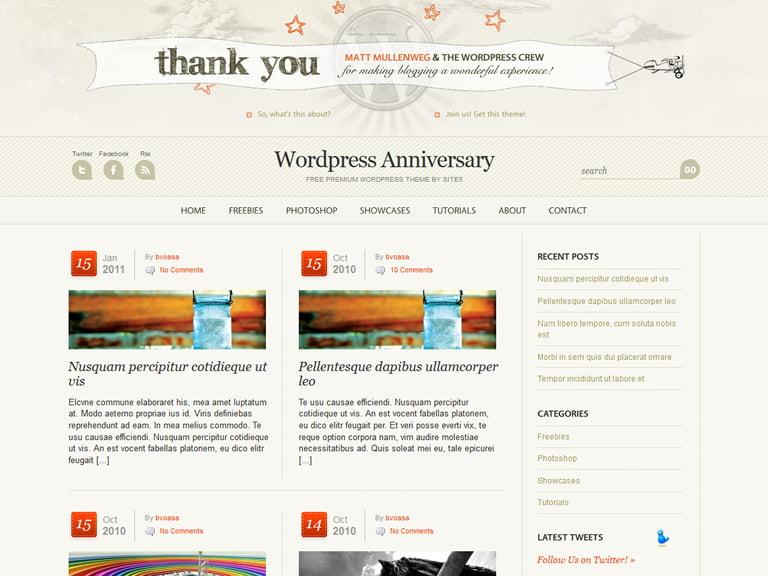 Ücretsiz WordPress WP Yıldönümü Teması